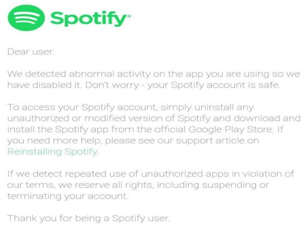 Spotify Account bloccato